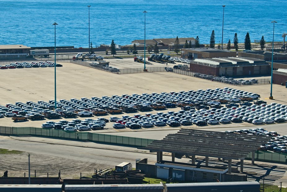 Vehicles at Port Elizabeth terminal waiting for export
