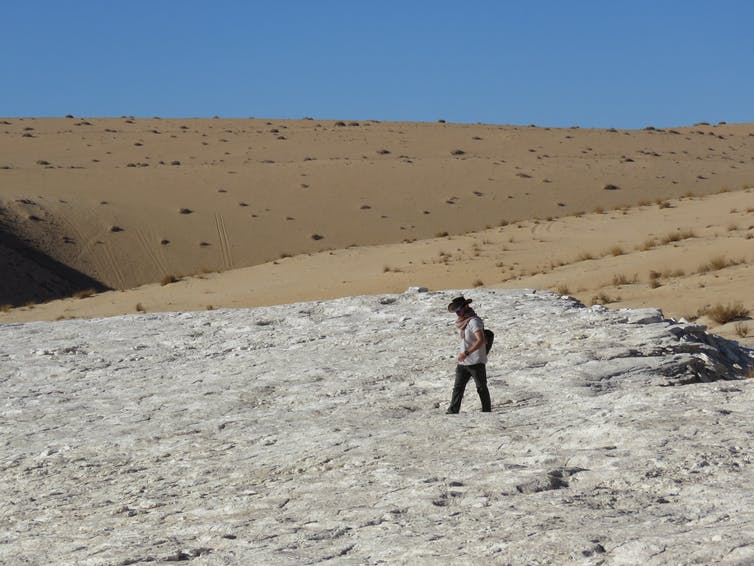 A man walks across a desert landscape.