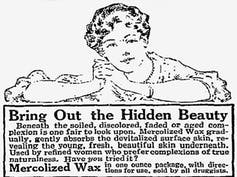An advert with an illustration of a woman with an expensive hair-do reclining and smiling slightly.