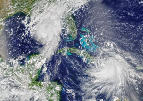 A satellite image of Hurricanes Marco and Laura.