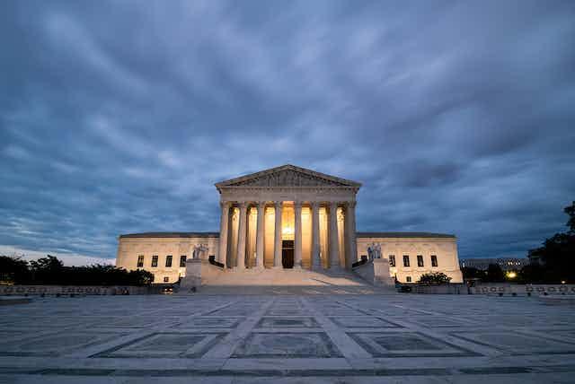 The U.S. Supreme Court at dusk.