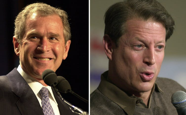 Photos of George W. Bush and Al Gore