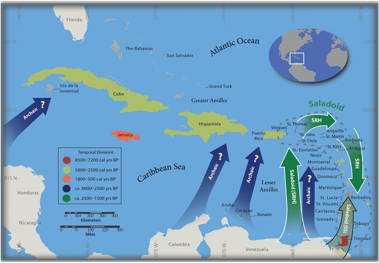map of Caribbean showing order in which islands were settled, from north to south