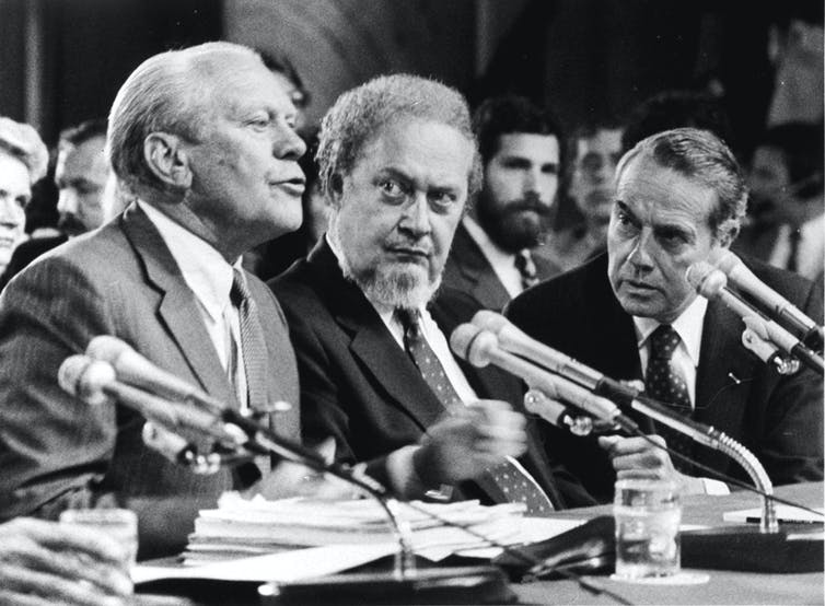 Supreme Court nominee Robert Bork being introduced at his confirmation hearings by former President Gerald Ford.