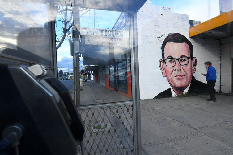 A mural of Victorian Premier Daniel Andrews in Melbourne