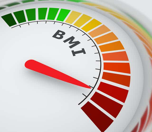 An arc-shaped BMI scale with colour gradations from green through yellow, orange and red, with a red pointer indicating a BMI in the red range.