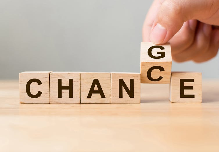 Scrabble letters spelling 'chance' altered to 'change'