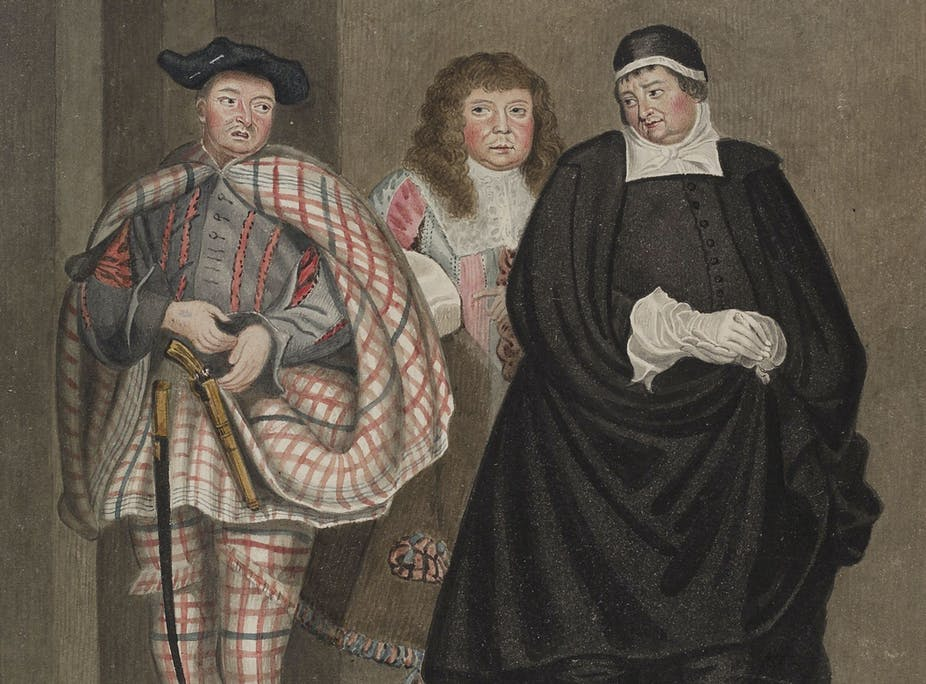 Three male figures dressed in 17th-century outfits.