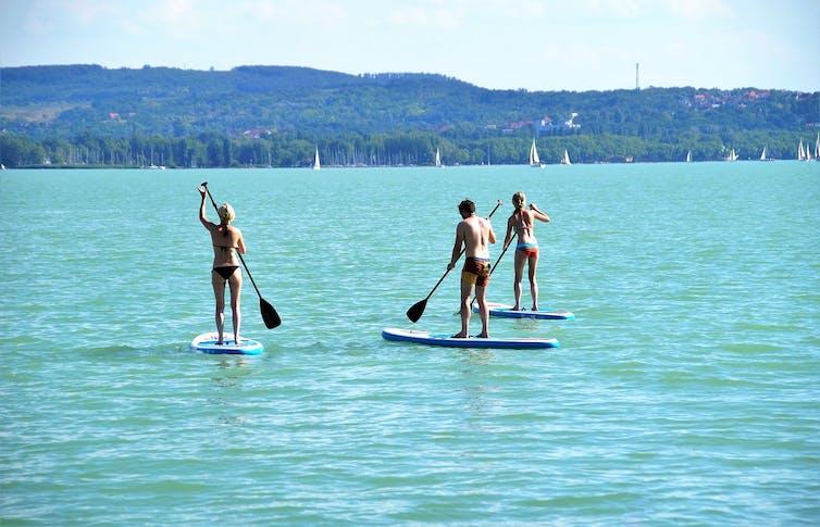 Personnes qui font du paddle.