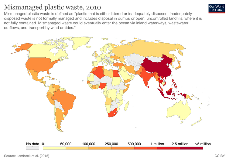 A world map highlighting countries according to proportion of plastic waste they mismanage.
