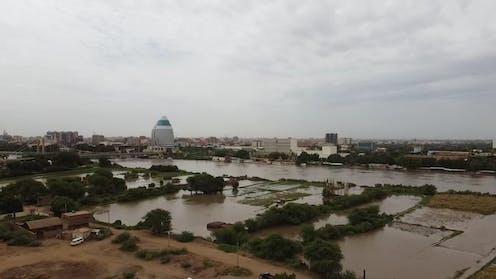 Swelling Blue Nile floods a farmland as rising water levels threaten Khartoum.
