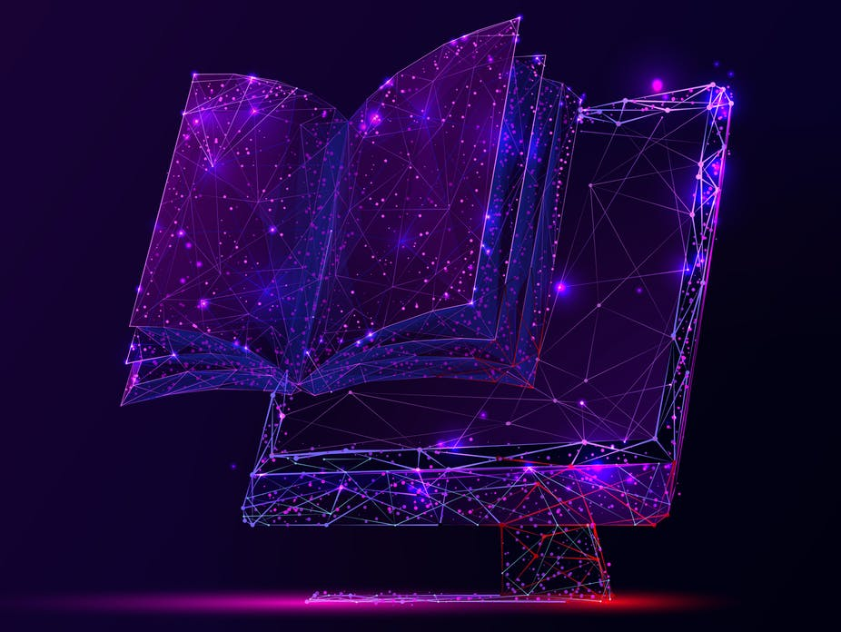 A book emerges from a computer screen.