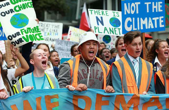Climate protests in Wellington.