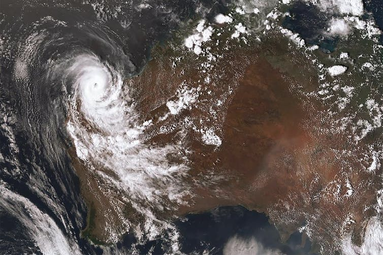 A satellite image of Cyclone Damien in WA.