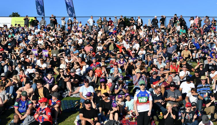 Crowds at NRL match on Sunshine Coast.