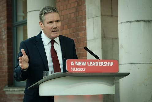 Keir Starmer delivers a speech.