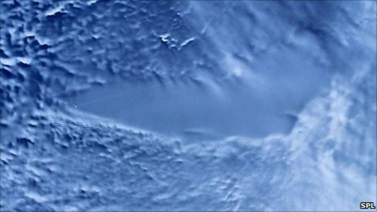 Radar image of Lake Vostok below the Antarctic ice.