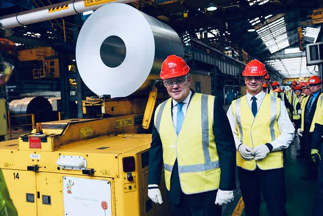 Scott Morrison and Angus Taylor at a steel factory