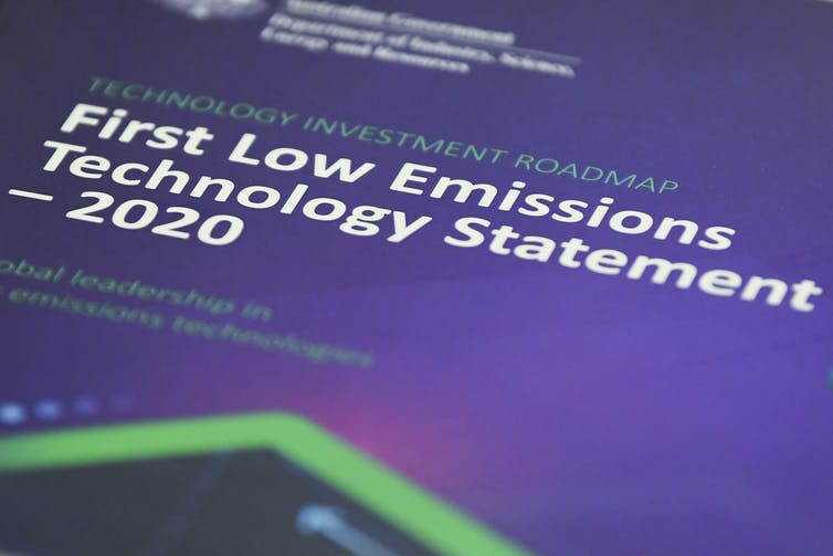 The cover of the first low-emissions technology statement