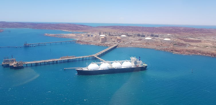 Gas ship being filled in the Pilbara.