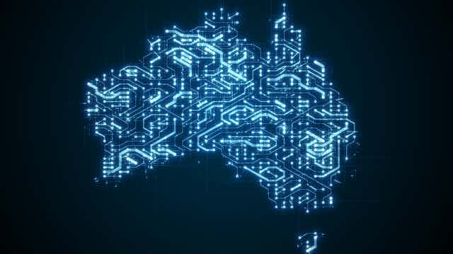 Illustration of data connections across a map of Australia