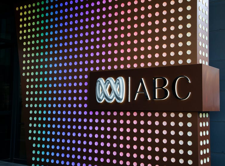 ABC logo against colourful light backdrop