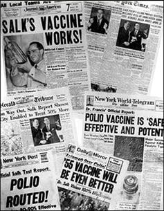 1955 newspaper headlines on the development of an effective polio vaccine