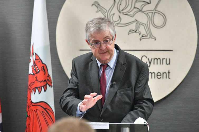 First minister of Wales, Mark Drakeford, speaks at a press conference at the Senedd in Cardiff,