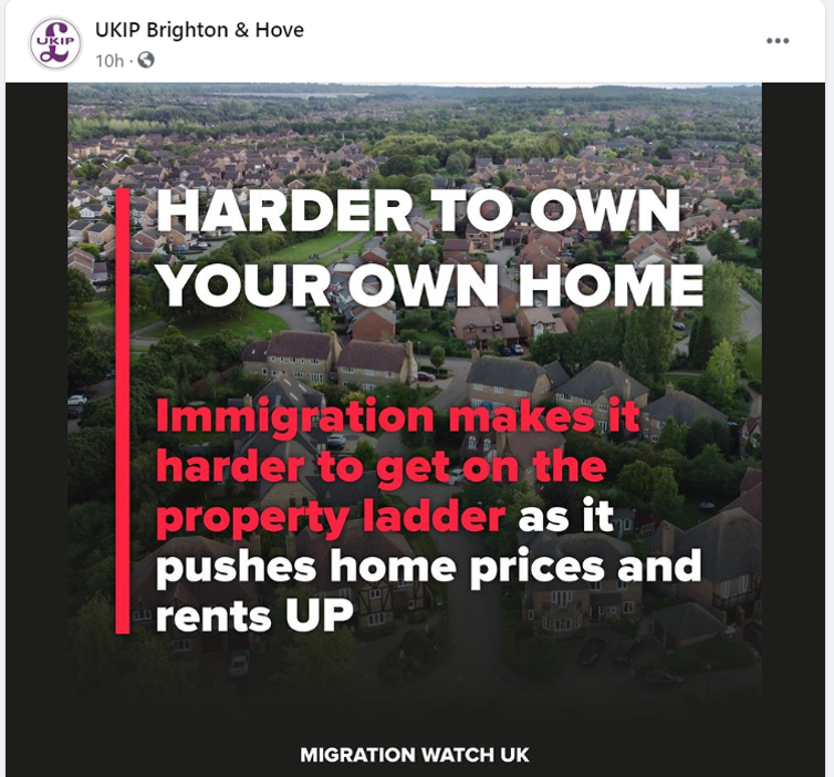 Facebook post by UKIP claiming immigration makes it harder to own your own home.