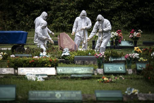 Funeral service a victim of the COVID-19 pandemic, at the Parque Taruma graveyard, in Manaus, Brazil