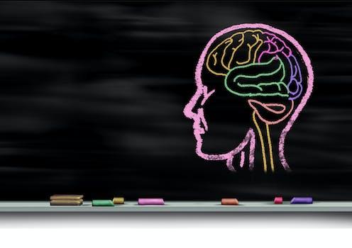 Cabeza y cerebro pintados en una pizarra con tizas de colores.