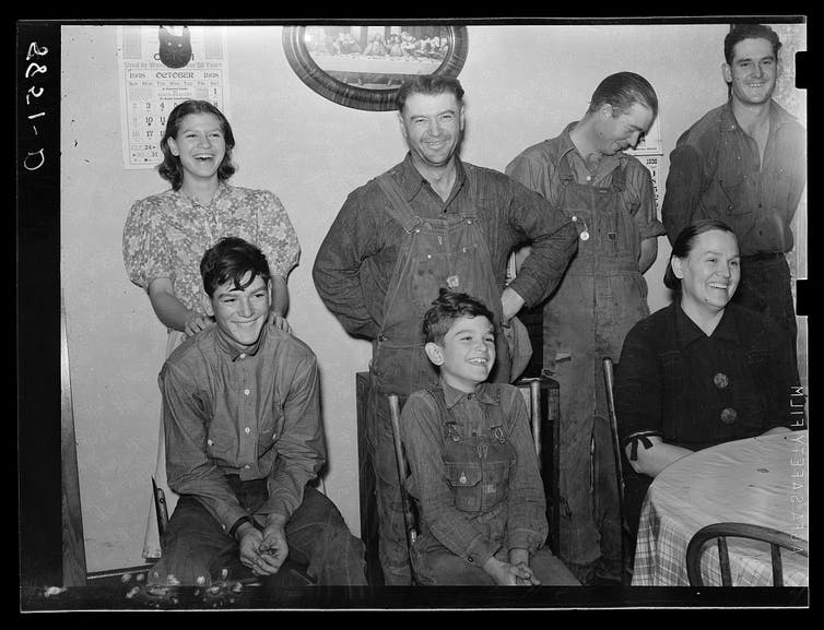 A German-American farm family in 1938 in Lincoln County, Nebraska.