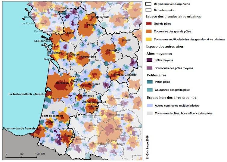 Carte de la région Nouvelle-Aquitaine