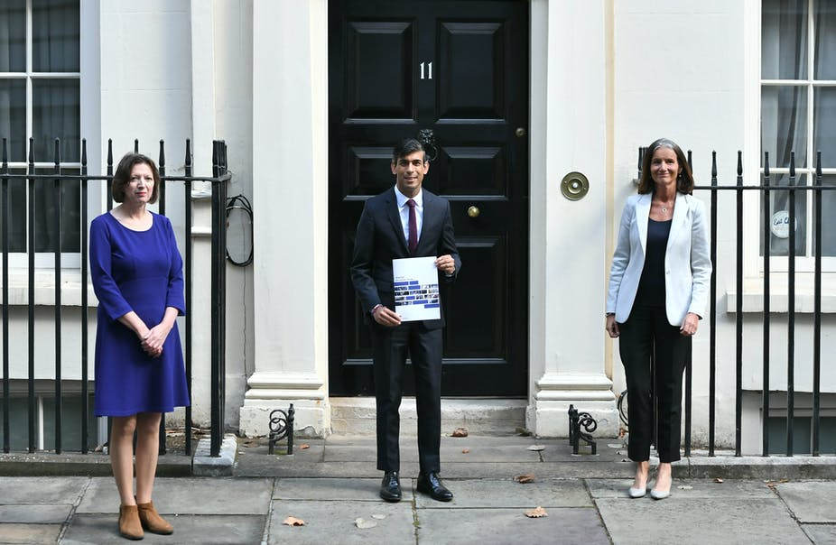 Chancellor Rishi Sunak with Carolyn Fairbairn, director general of the CBI (right) and Frances O'Grady (left), general secretary of the TUC.