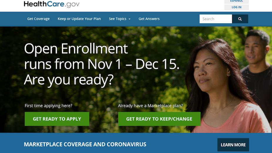 A screen advertising open enrollment for the ACA