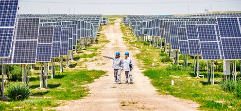 Two engineers stand in middle of solar farm