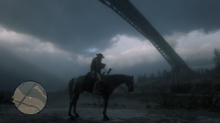 Character on his horse in Red Dead Redemption 2.