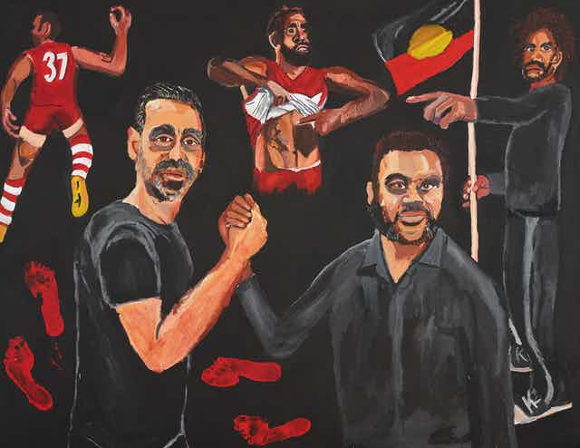 Painting of two Indigenous men with football theme