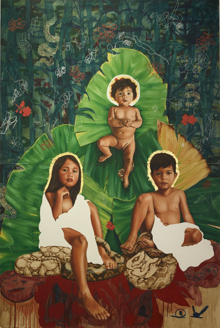 Painting of three children on green background.
