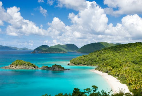 sunny day along coast of a Caribbean island