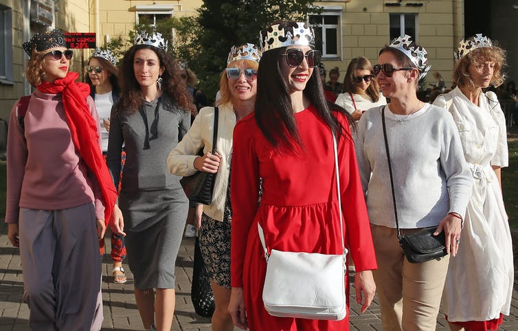Flash mob of Belarusian women in dresses and crowns