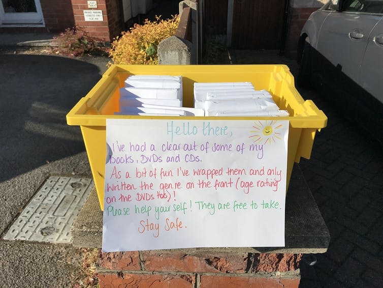 Books left in a box for kerbside collection