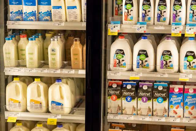 Refrigerated milk aisle at a supermarket