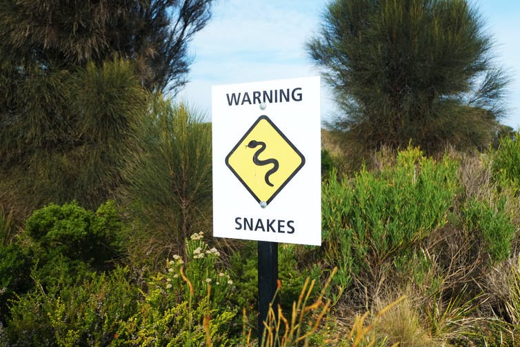 A snake warning sign