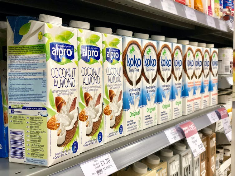 Milk varieties on a supermarket shelf