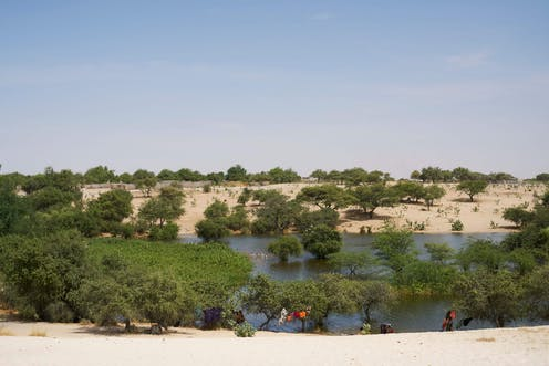 Chadian women wash their clothes on teh side of Lake Chad.
