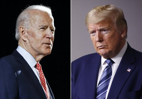 Joe Biden and Donald Trump in side-by-side photos