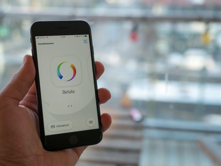 Sweden's Swish app on smart phone.