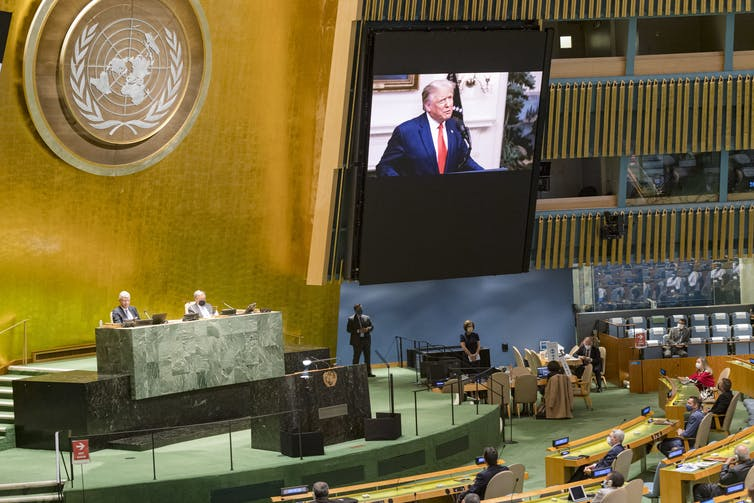 US President Donald Trump addressing the UN in a video message.