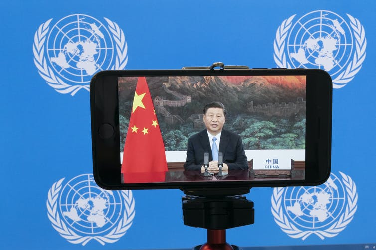 Chinese President Xi Jinping addressing the UN by video.